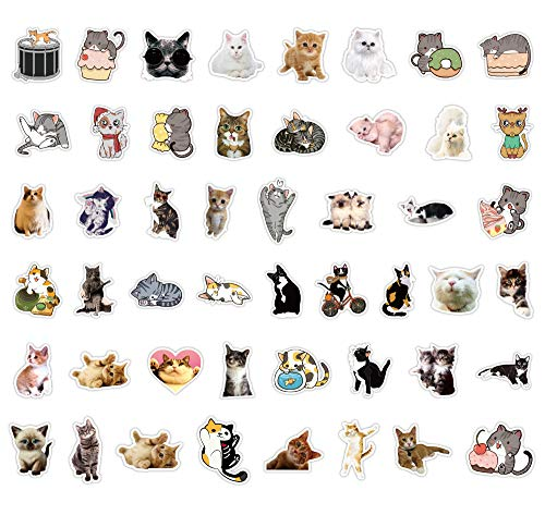 50Pcs Cute Cats Waterproof Vinyl Stickers Decals for Laptop Water Bottles Hydro Flask Bicycle Guitar Skateboard Luggage…