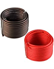 TOPSTRONGGEAR 8 Gauge 25ft Black and 25ft Red Power/Ground Wire True 8 AWG Power Wire-True Spec and Soft Touch Cable (Black&Red)