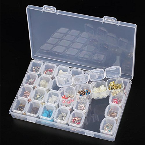 EEEKit Clear Plastic 28 Slots Adjustable Jewelry Storage Box Case Bead Organizer Container ()