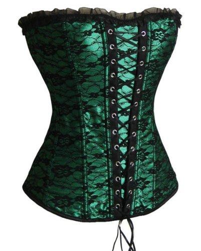 SZIVYSHI Corsage Kleid Mini Rock Petticoat (L, grün)