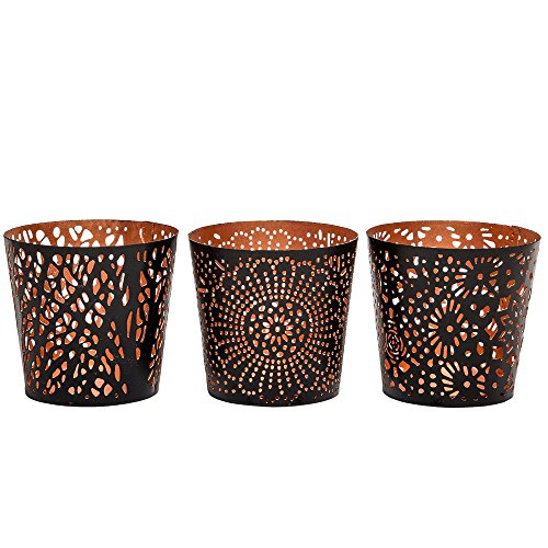 MarktSq Set of 3 Uniquely Crafted Metal Votive & Tealight Candle Holders ()