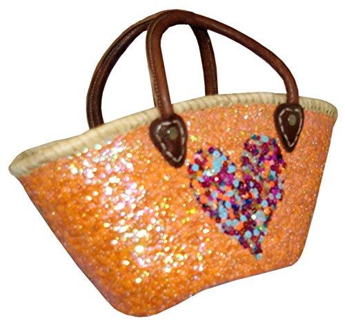 Capazo Bolso Pequeño Lentejuelas Palma Naranja Corazon Multicolor