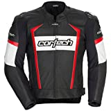 Cortech Adrenaline 2.0 Mens Leather Sports Bike Racing Motorcycle Jacket - Black/Red / Large