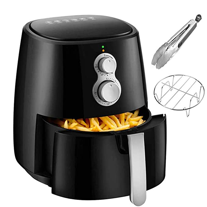 Air Fryer, 4.2QT Air Fryers w/Accessories Cookbook, Grill Rack and Tongs amber