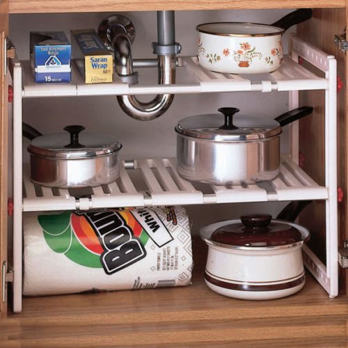 Kitchen Bathroom Cabinet Under Sink Adjustable Shelf