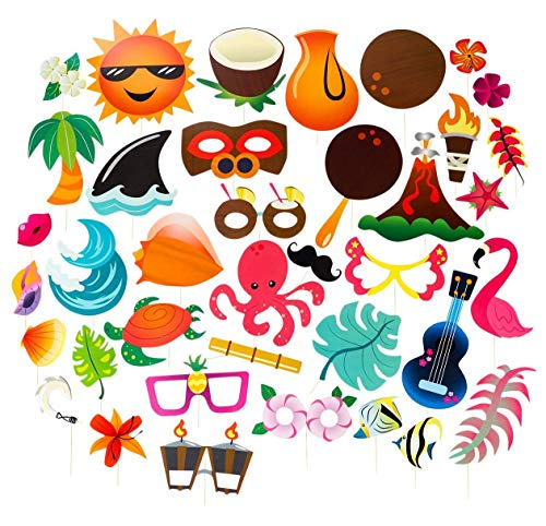 Luau Photo Booth Props - 72-Pack Luau Party Supplies, Selfie Props, Hawaiian Party Favors for Cocktail Parties, Tiki Parties and Hawaiian-Themed -