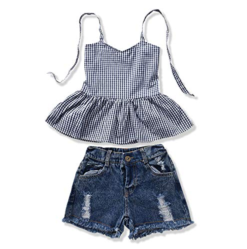 YOUNGER TREE 2Pcs Fashion Toddler Kids Baby Girl Denim Shorts Sets Sleeveless T-Shirt Top Ripped Shorts Summer Outfits