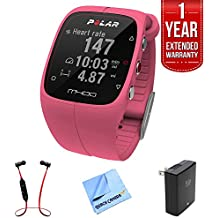 Polar M400 GPS Smart Sports Watch w/ Extended Warranty Bundle Includes, 1 Year Extended Warranty, Fusion Bluetooth Headphones, Micro Fiber Cloth & Universal Travel Wall Charger