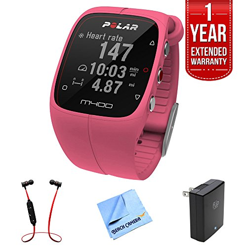 Polar M400 GPS Smart Sports Watch, Pink (90057191) w/ Extended Warranty Bundle Includes, 1 Year Extended Warranty, Fusion Bluetooth Headphones, Micro Fiber Cloth & Universal Travel Wall Charge