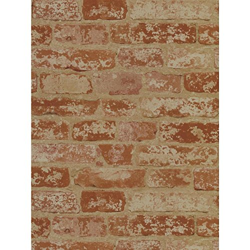 York Wallcoverings Wall in a Box Stuccoed Brick Removable Wallpaper, Rust Red, Barn Red, Ivory, Beige Wine Red