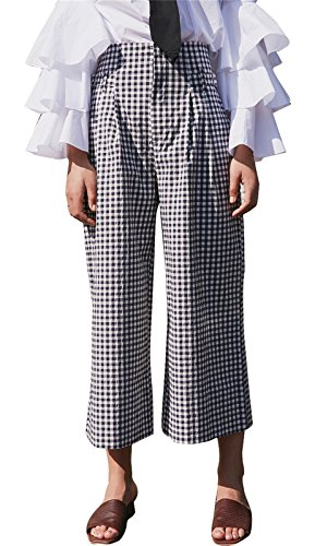 Gingham Pants (Arctic Cubic Crop Capri Capris Culotte Culottes Wide Leg Pants Plaid Tartan Gingham Check Checkered Black White XL)