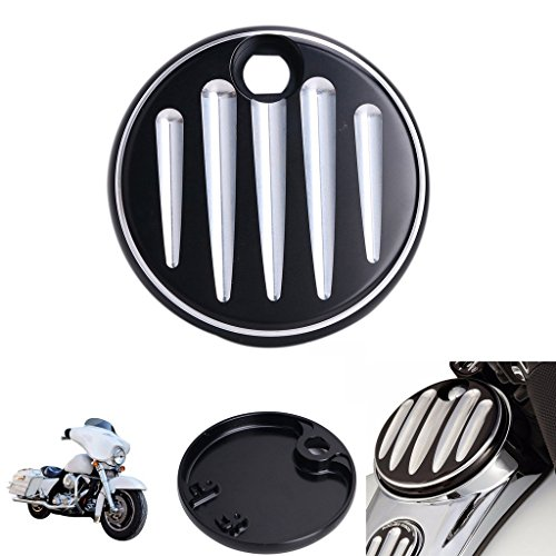 ECLEAR Black Deep Cut Fuel Gas Door Cover for Harley Touring Electra Glide FLHX FLTR FLHT 2008-2017