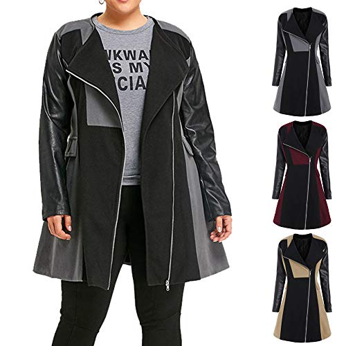 En Chaud Femmes Vin Cardigan Manteau Veste Laine Survêtement Patchwork hiver Cuir 2018 Jaquette Du Long Vestes Outwear pqEnI