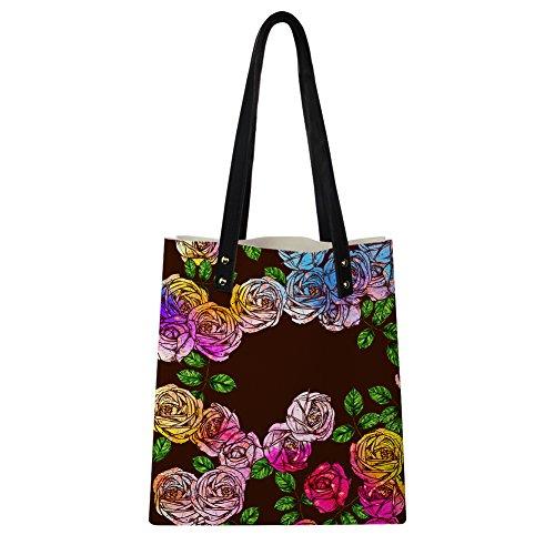 2 Rose Flower Novelty Women Rose for PU Instantarts Flower Handbags Leather Print Shoulder qfCx7w7
