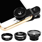 Xinnio Universal 3 in 1 Camera Lens 0.67X Wide Angle Lens+ 180° Fisheye Lens Macro Camera Lens Kit Clip On for iPhone XR/XS/XS MAX/X/ 8 7 6 Plus, Samsung Smartphones Black