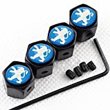 CHAMPLED NEW (4PC) PEUGEOT BLUE LOGO METAL BLACK WHEEL TIRE AIR VALVE STEM CAPS DUST COVER