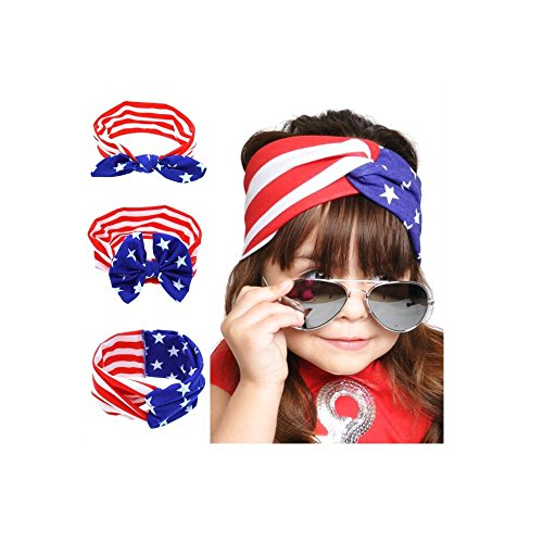 [Hoconda American Flag Pattern Headband Rabbit Ears Headwear for Baby Girls Women] (Usa Flag Dress Teen Costumes)