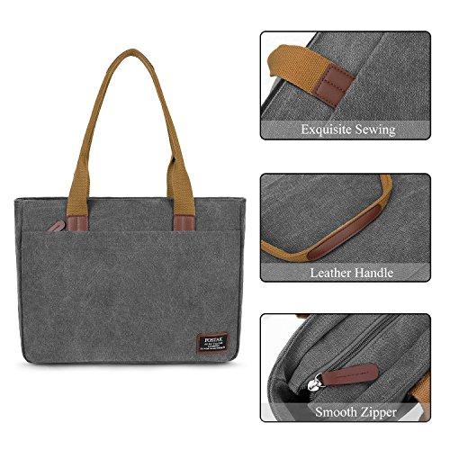 Womens Shoulder Bag,15.6 inch Laptop Tote Bag Durable Slim Vintage Canvas Satchel Handbag Purse Lightweight Large Work Bags 14-15 Inch ...