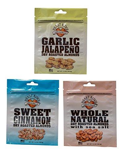 Heart Ridge Farms Gourmet Dry Roasted California Almonds in a Resealable Pouch – 3 bags 7 ounces each (sea salt, garlic jalapeño, sweet cinnamon) Review