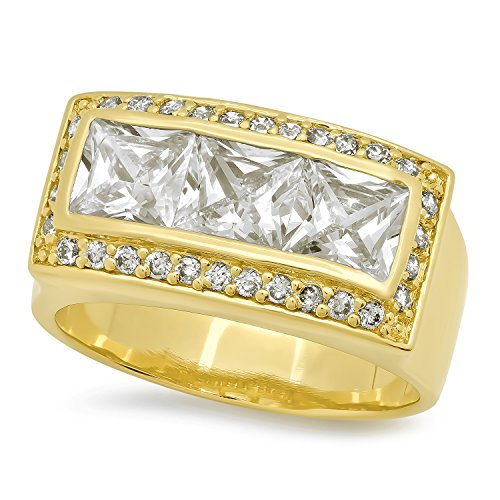 14k Gold Bonded Princess Cut - Men's 14k Gold Plated Channel Set Princess Cut Bling Cubic Zirconia Ring, Size 9.5 + Microfiber Cloth