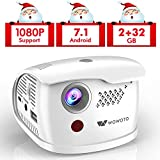 WOWOTO Q1 Pro Mini Projector Portable 2800 Lux Android 7.1 WiFi Wireless & Bluetooth Video Projector Support 1080P HD/USB/SD/Indoor & Outdoor Projector for Home Theater (2+32G)