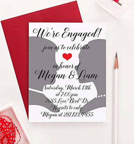 Engagement Announcement Invitations (Silhouette Engagement Party Invitation, Elegant Engagement Party Invitatio, Engagement Announcements, Engagement Party Invitations, Your choice of quantity and envelope color)