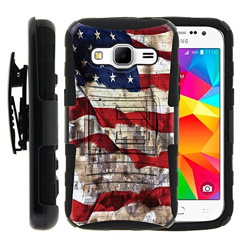 MINITURTLE Case Compatible w/ Samsung Galaxy Core Prime Case | Rugged Armor Series Impact Hard Rubber Unique Creative Cover + Belt Clip , Samsung Prevail LTE - New York USA Flag