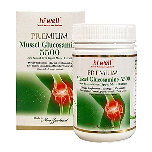 Hi Well Premium Mussel & Glucosamine 5500mg 180 Capsules New Zealand Green Lipped Mussel Extract Joint Health Supplements by Hi Well