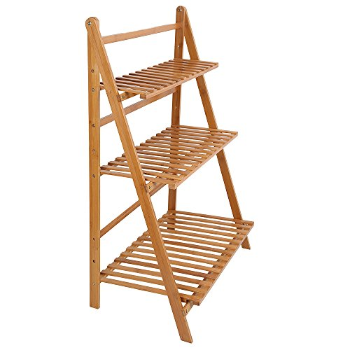 Ogori Bamboo Wood Ladder Plant Stand 3-Tier Foldable Organizer Flower Display Shelf Rack for Home Patio Lawn Garden Balcony Holder by OGORI