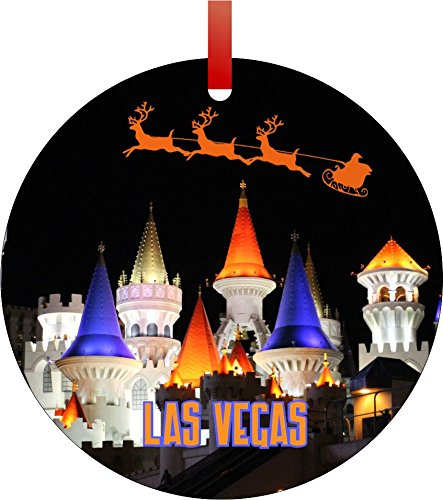 Santa and Sleigh Riding Over Las Vegas-Round Aluminum Christmas Ornament with a Red Satin Ribbon/Holiday Hanging Tree Ornament/Double-Sided Decoration/Great Unisex Holiday Gift! ()