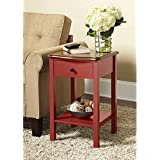 Wooden Side or End Table with Multiple Colors (Red)