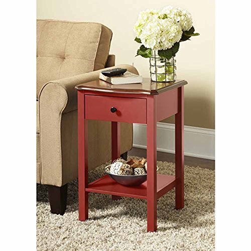 Wooden Side or End Table with Multiple Colors (Red) (Green Table Lamp Hunter)