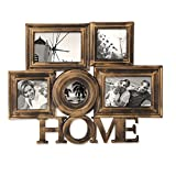 """Joveco 5-Opening plastic Antique Golden Photo Frame Collage """"HOME"""""""