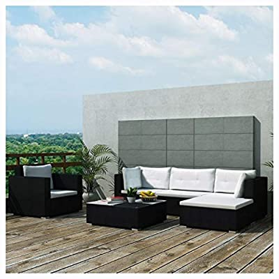 HomyDelight Outdoor Furniture Set, 6 Piece Garden Lounge Set with Cushions Poly Rattan Black
