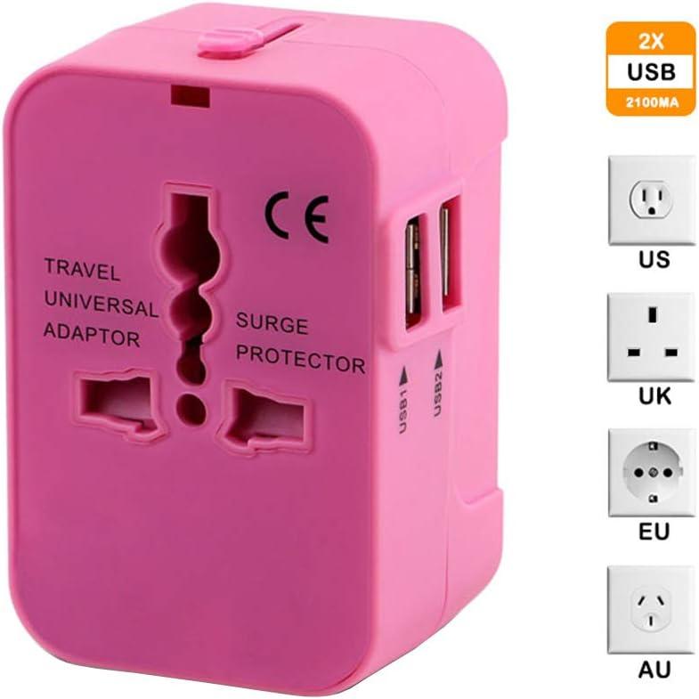 Adaptador de Viaje Universal, Todo en el Mundo, Fuente de alimentación, Cargador Internacional con 2 Puertos de Carga USB para teléfonos móviles de la UE de EE. UU.: Amazon.es: Electrónica
