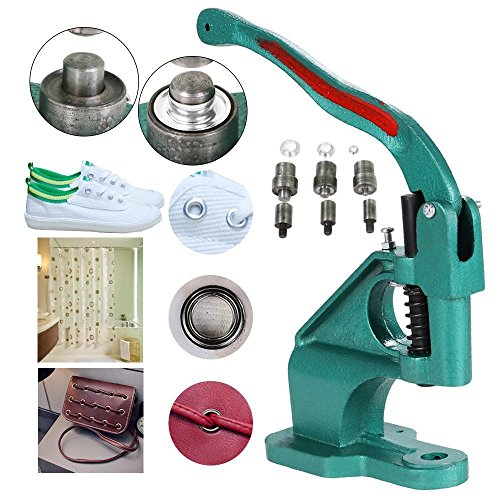 Yaheetech Eyelet Grommet Machine Hand Press Grommet Machine with 3 Die (#0#2#4) & 1500 Pcs Silver Grommets Heavy Duty Punch Tool Kit ()
