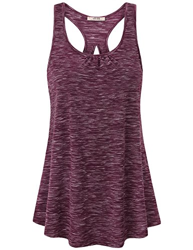 - Vivilli Tunic Tank Tops for Women, Womens Sleeveless Loose Running Racerback Activewear Yoga Soft Maternity Shirts Flattering Workout Tunic Tank Tops Wine Medium