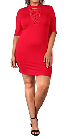 5f3cdb57d8d eVogues Plus Size Mock Turtleneck Lace up Dress Red at Amazon ...