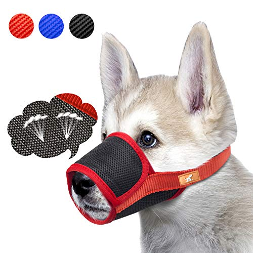 Breathable Dog Muzzle Mesh Mask Stop Biting, Barking and Chewing, Cover with Hook & Loop for Dogs, Adjustable(L,Red)
