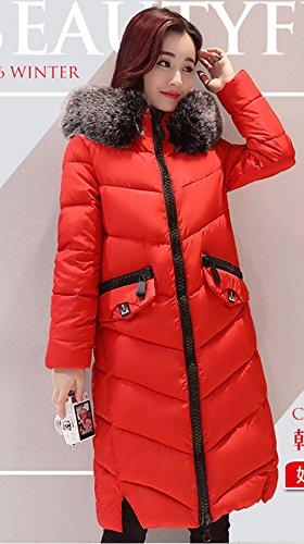 Coat Collo Di Giacca Trapuntata Soffiatore Lungo Pelliccia Rosso Comvip Coreano Donna z5fqA6