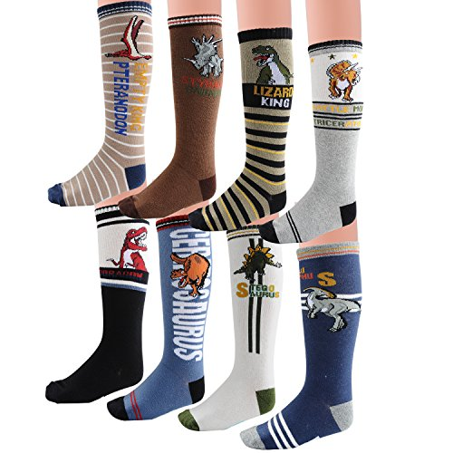 Deer Mum Boy's Cartoon Dinosaur Pattern Knee High Socks (8 Pairs)(3Y-6Y)