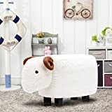 Guteen Upholstered Ride-on Toy Seat Ottoman Footrest Stool with Vivid Adorable Animal-Like Features(Beige sheep)