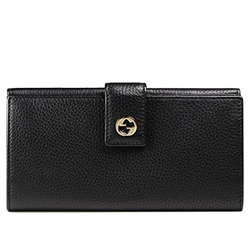 Gucci Wallet 337335 Miss GG Black Leather Interlocking Logo - Gucci Logo Gold