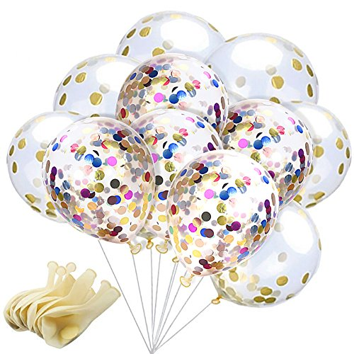 20 Pcs Confetti Balloons 12 Inches Latex Party Balloons With Paper Confetti Dots For Party Decorations Wedding Decorations Christmas (10 pcs Gold + 10pcs Multicolor Confetti (Inflate Balloons)