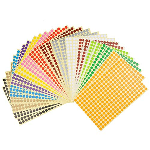 YOTINO 28 Sheet Round Stickers, 1/3inch 8mm Mini Dot Stickers Multicolor Round Coding Circle Dot Labels -14 Colors 7280 Dots (Fits Any Printer)