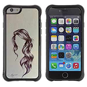 Be-Star único patrón Impacto Shock - Absorción y Anti-Arañazos Funda Carcasa Case Bumper Para Apple iPhone 6(4.7 inches) ( Hairstyle Art Wavy Portrait Anonymous Beauty )