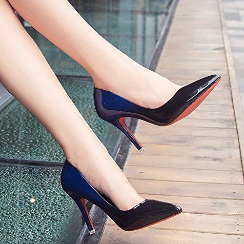 La Lumire Cuir Peinture Minces Hauts Et Pour Chaussures 38 Femmes Carrire Cm En De Femmes Gradient Points Talons Avec Bleues qYS0wYB