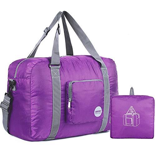 "18"" Foldable Duffle Bag 30L for Travel Gym Sports Lightweight Luggage Duffel By WANDF, Purple"