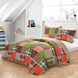Ln 3 Piece Kids Orange Green Plaid Quilt Set Full Sized, Brown Blue Patchwork Winery Bedding Tartan Glen Check Geometric for Boys Bedroom Squared Box Durable Reversible Vibrant Color, Polyester