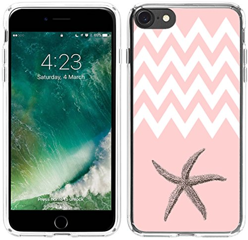 8 Case Starfish, Hungo Soft TPU Silicone Protector Cover Case Compatible with iPhone 7/8 Pink Chevron Starfish